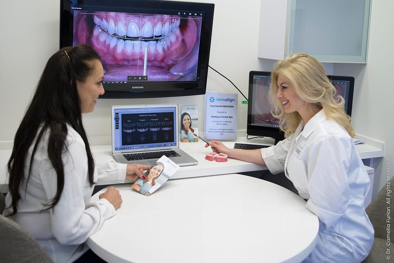 patient consult for orthodontic treatment with dentist